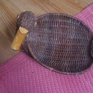 Duck shaped wicker basket
